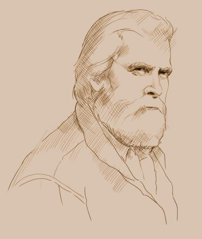 Sketch of Shane Mahoney, Sepia Tone